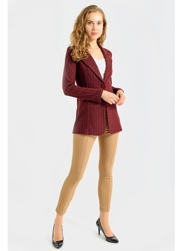 Jument Kadın Çizgi Desenli Kışlık Uzun Kaşe Ceket-Bordo Çizgi Bordo